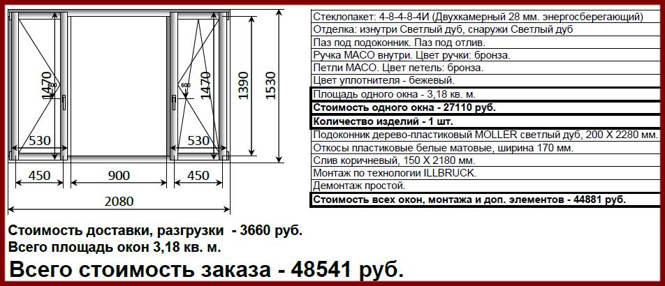 окно ОСВ 1530х2080